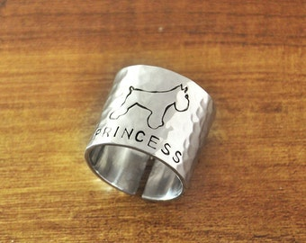 FREE Shipping- Schnauzer Ring, Hammered Wide Ring, Hand Stamped Personalized dog ring, Custom Name Ring, Gift for Dog Lover