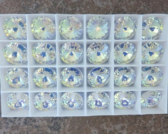 Vintage SWAROVSKI® Crystal Article#6204 18mm TWO(2) Rivoli Pendants,  Aurora Borealis