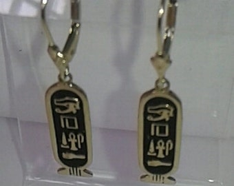 Egyptian Hieroglyphys Earrings 14K Solid Gold