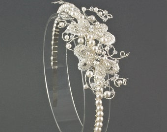 Lace Pearl Butterfly Wedding Headband | Lace Headband | Pearl Bridal Headband | Wedding Tiara | Lace Butterfly Wedding | Butterfly Wedding