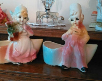 Adorable Matching Dutch Boy and Girl Planters - Vintage or Antique - Dutch Clog Planter - Clean and in Excellent Condition!