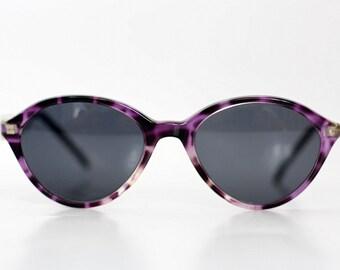 NOS Solstar Cat Eye Sunglasses / Vintage Womens shades / Deadstock purple tortoise sunnies / Made in Austria 80s