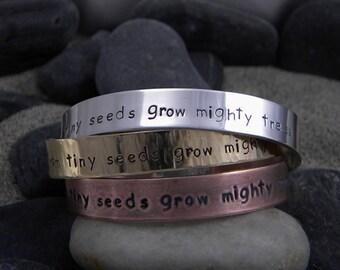 Teachers Bracelet - From tiny seeds grow mighty trees