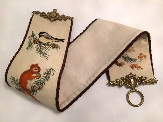 Beautiful vintage hand embroidered bell pull with ornate solid