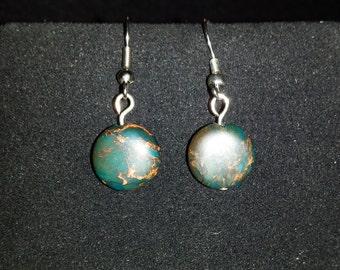 Blue African Opal Jasper Earrings, Drop Earrings, Dangle Earrings