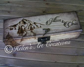 Personalized Wine Box, Custom Engraved Wine Box, Wedding Box, Anniversary, Keepsake Box, Birthday, Heirloom, Time Capsule, Mountains, Rustic