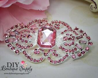 Large Art Deco Pink Rhinestone Brooch Component - Flatback Crystal Embellishment for Wedding Bouquets Sash Bridal Accessories 65mm  N108