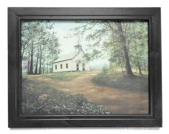Church Picture, 'Sunday in Cade's Cove, Primitive Country Decor, Wall Hanging, Framed Print, Handmade, 19X15, Custom Wood Frame, Made in USA
