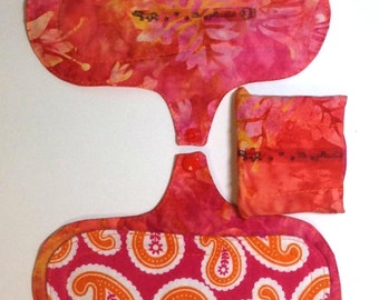 "Reusable Panty Liner, 8"" Washable Non-PUL Cloth Period Pad, Peachy Pink Batik, Light Incontinence Pad, Reusable Cloth Pad, Green Lifestyle"