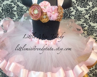 Pink and Gold Ribbon Trim Tutu with Matching top, Pink Gold Tutu, Ribbon Tutu, Pink Gold Cake Smash, Pink Gold Birthday Tutu, Pink Gold Tutu