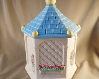 Cookie Jar ~  GAZEBO,  Lattice wall, flowers, blue roof