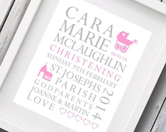 "Personalised Christening Day / New Baby Print 8"" x 10"" typography print art bespoke Boy or Girl"