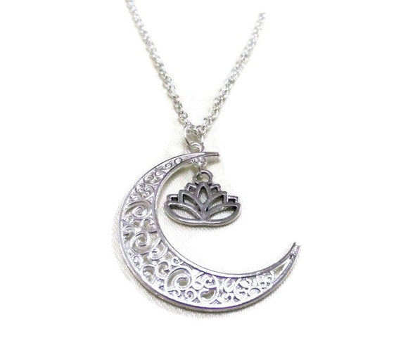 sale silver moon and lotus necklace crescent moon necklace