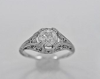 Vintage Engagement Ring 1.01ct. Diamond & White Gold Art Deco - J34008