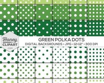 Digital paper pack: green polka dot background, circle pattern design, lime polka dot backdrops, printable march clipart, graphics download