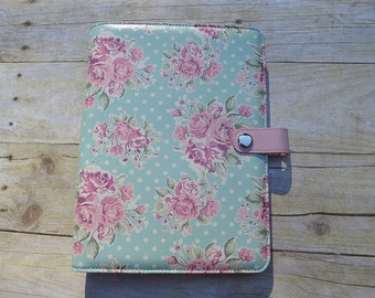 """A5 Planner Binder - Flower Planner - Planner Accessory - Polka Dot Planner - Pink Planner -  """"Vintage Floral"""" SALE"""