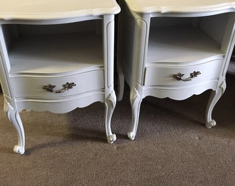 Two Matching Vintage French Provincial Nightstands Country french Shabby Coastal Cottage mid century