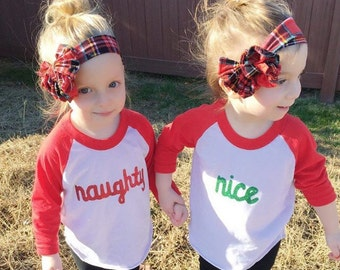 """Christmas """"Naughty/Nice"""" toddler tees"""