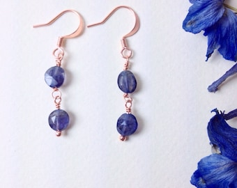 Faceted Iolite, copper wire wrap, gemstone jewelry, dangle earrings, handcrafted jewelry