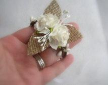 Rustic Wedding Corsage - Burlap Wrist Corsage - Rustic Wedding Bracelet - Mother of Bride Groom - Bridesmaids Corsage - Woodland Wedding