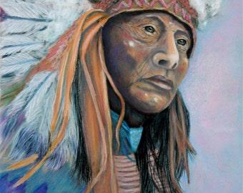 "Fine Art Print  ""Native American Chief""   Print by Napolske Art Painting"