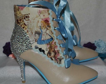 SALE: Alice in Wonderland Boots - Size UK4 - Available to Ship NOW