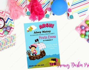 Sweet Pirate Girl Printable Invitation, 5x7, 4x6, Personalized Birthday Girl Pirate Theme Invite