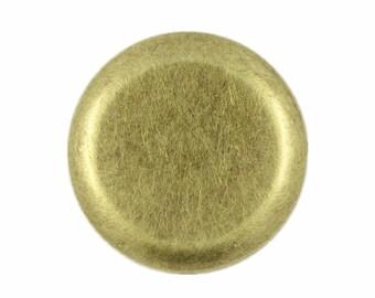 Metal Buttons - Flat Antique Brass Metal Shank Buttons - 25mm - 1 inch - 6 pcs