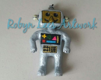 Futuristic Modern Robot Art Doll Figure Ornament in Blue Silver with Gold and Colours. Artwork