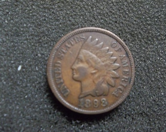 Vintage 1898 Indian head penny Full Liberty
