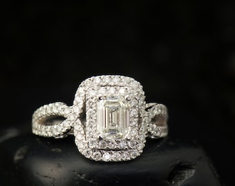 Helen - Moissanite & Diamond Engagement Ring in White Gold, Emerald Cut Center in Double Halo, Split Shank Design, Free Shipping