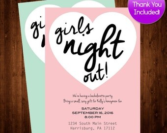 Girls night out, Printable Bachelorette Invitation, Pink Seafoam Bachelorette Party Invitation Printable, Bachelorette Invite FREE THANK YOU