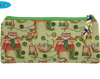 NEW Zippered Bag   Notions Bag   Notions Pouch   Zipper Bag   Pencil Case   Pencil Pouch   Pencil Holder   Cats Knitting Bag