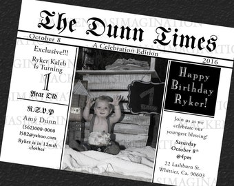 Newspaper Birthday Invitation-DIGITAL