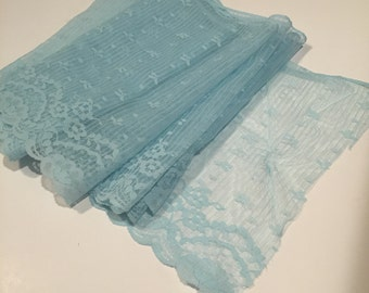 2.25 yards of wide baby blue lace trim