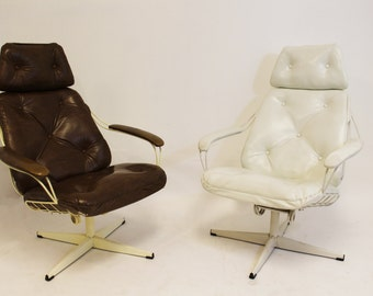 Mid Century Modern Homecrest Pair of Lounge Rocker Swivel Chairs