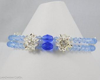 Light Sapphire Swarovski Crystal Two Strand Cuff Bracelet - Handmade, Flower Spacers, Sapphire Beads