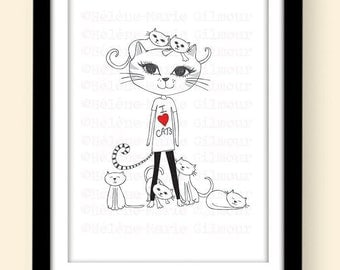 I LOVE CATS signed A4 Art Print -  Ideal gift for Cat lovers