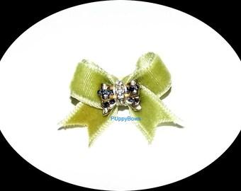 Puppy Bows ~VELVET olive green RHINESTONE navy center hair bow clip Yorkie  barrette dog grooming
