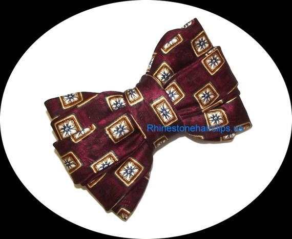 Becky Bows ~OOAK Barrette Hand crafted huge bow tie BIG hair bow Women or Girls giant burgundy navy gold