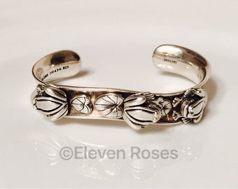 Barry Kieselstein Cord 2004 925 Sterling Silver Lily Pad & Frog Wide Heavy Cuff Bracelet Free US Shipping