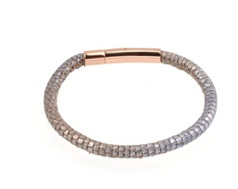 Women's Leather Bracelet Metallic Lizard Print patterned Stitched Two Tone Jeans