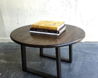 """30"""" Round coffee table with steel legs"""