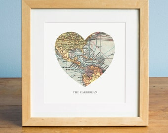 Map of the Carribean, Heart Map, Carribean Map Art, Central America Map, Carribean Art, Valentines Day Gift, Personalized Map Art