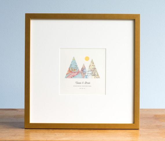 Wedding Gifts For Adventurous Couples : ... Wedding Gift Art, Custom Anniversary Print, Gift for Couple