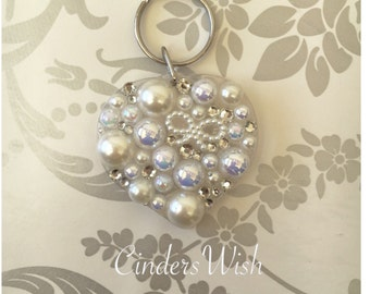 Stunning pearl and crystal heart shaped encrusted keychain.
