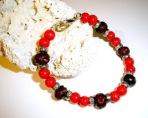 Mens Bracelets Antique Silver Wood Beaded Rustic Mens Jewelry Free Shipping Gift Ideas for Men Beach Bracelet Red Brown Beaded Bracelet