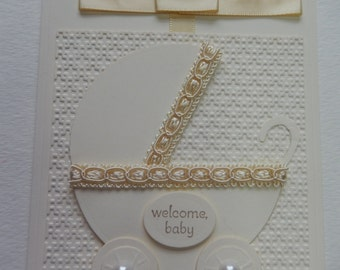 Cream Baby Carriage Card