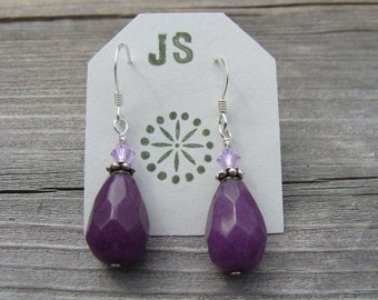 Purple Stone Bead Sterling Silver Earrings