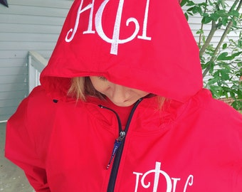 Monogrammed Charles River Rain Jacket Pullover